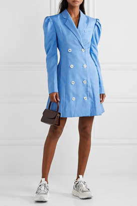 Maggie Marilyn Net Sustain Leap Of Faith Double-breasted Pinstriped Woven Mini Dress - Azure