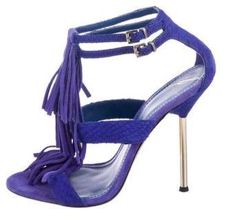 Brian Atwood Embossed Fringe Sandals