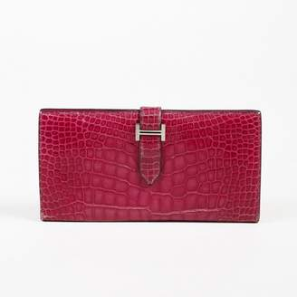 Hermes Bearn Pink Alligator Wallets