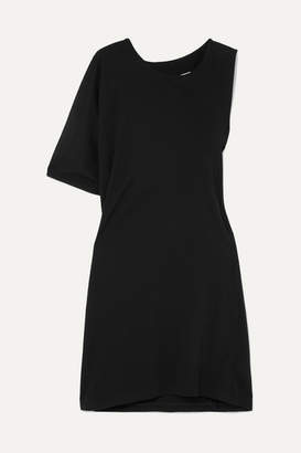 MM6 MAISON MARGIELA Asymmetric Twist Cotton-jersey T-shirt Dress - Black