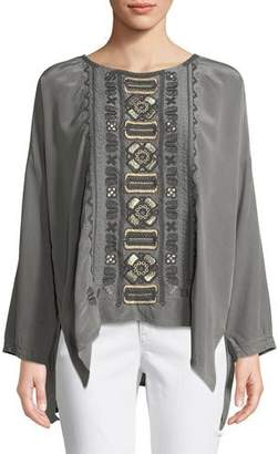 Johnny Was Plus Size Alka Long-Sleeve Silk Blouse w/ Embroidery