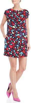 Love Moschino Heart Print Cap Sleeve Shift Dress