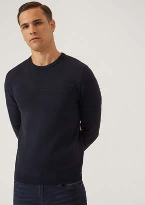 Emporio Armani Crew-Neck Jumper With Contrast Stitching Embroidered Logo