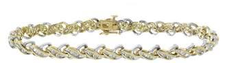 14K Two Tone Gold & 1.50ct Diamond X-Shaped Link Bracelet