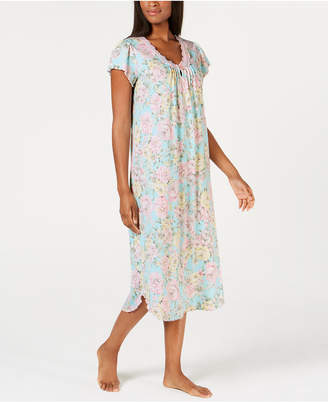 Miss Elaine Long Lace-Trimmed Printed Knit Nightgown