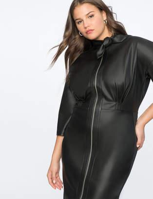 Tie Neck Faux Leather Dress