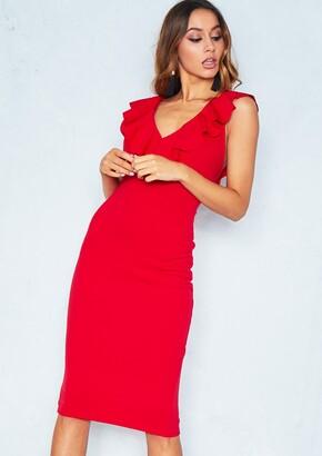 689bec3f2ed Missy Empire Missyempire Tanya Red Frill Neck Midi Dress