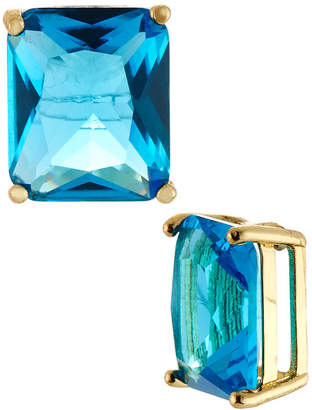 Emily and Ashley Greenbeads By Emerald-Cut Crystal Stud Earrings, Blue