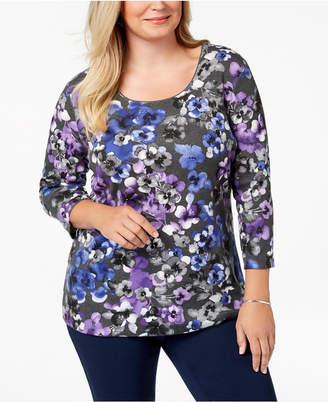 Karen Scott Plus-Size Printed 3/4-Sleeve Top, Created for Macy's