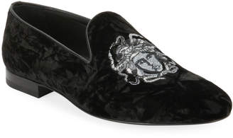 Versace Men's Medusa-Embroidered Velvet Formal Slipper