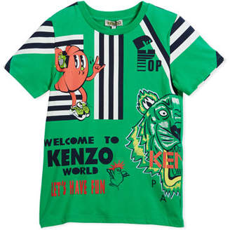 Kenzo Multi-Food Icon Tiger Striped T-Shirt, Green, Size 2-6