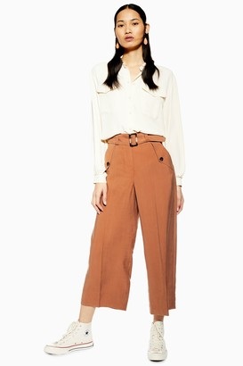 Topshop Womens Cupro Belt Crop Wide Leg Trousers - Rust
