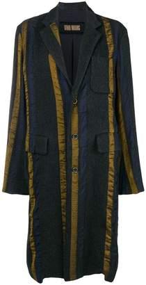Uma Wang striped single breasted coat