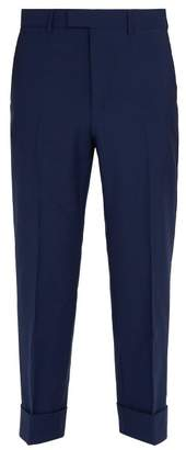 Gucci Cropped Mohair And Wool Blend Trousers - Mens - Blue