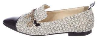 Chanel Tweed Semi Pointed-Toe Loafers White Tweed Semi Pointed-Toe Loafers