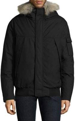 Woolrich Expedition Coyote Fur-Trim Bomber Coat