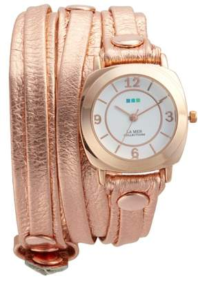 La Mer Odyssey Leather Wrap Strap Watch, 25.4mm