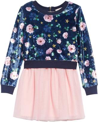 Truly Me Floral Velour Sweatshirt & Tutu Dress Set