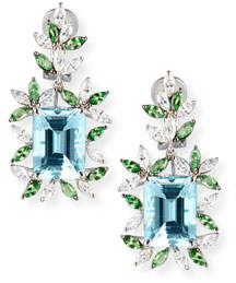Alexander Laut 18K White Gold Tsavorite & Aquamarine Earrings with Diamonds