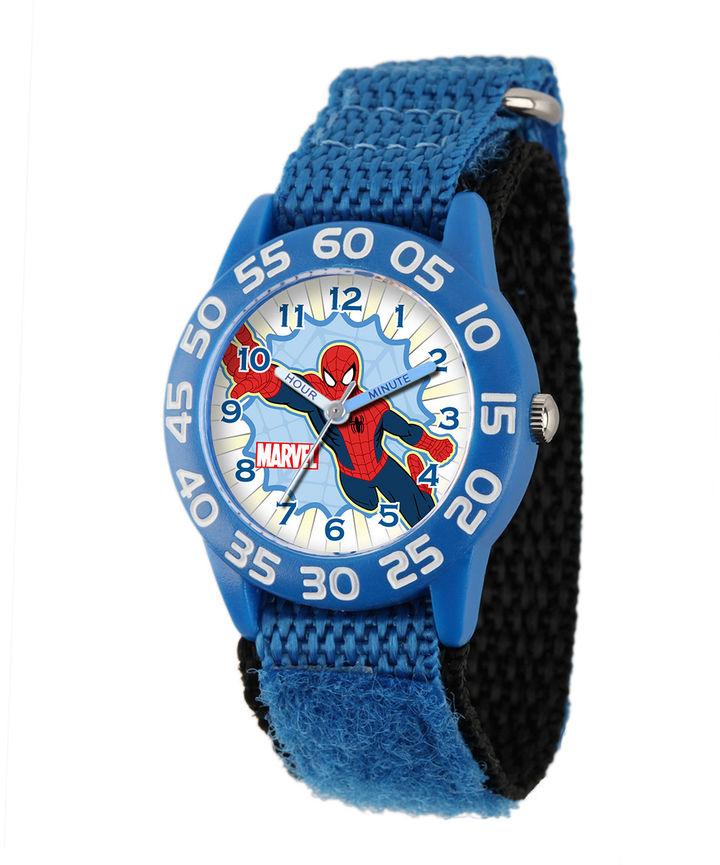 MARVEL Marvel Spider-Man Kids Time Teacher Blue Nylon Strap Watch
