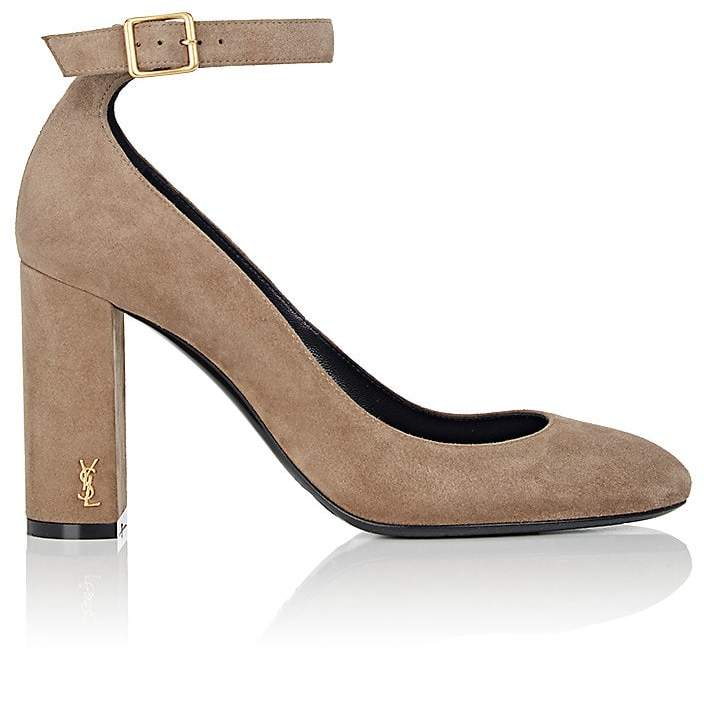 Saint Laurent Women's Loulou Suede Ankle-Strap Pumps