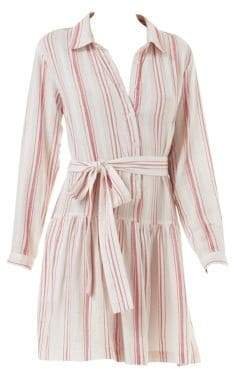 Melissa Odabash Women's Amelia Striped Cotton Shirtdress - Red Stripe - Size XS