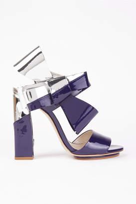 DELPOZO Patent Leather Bow Sandals