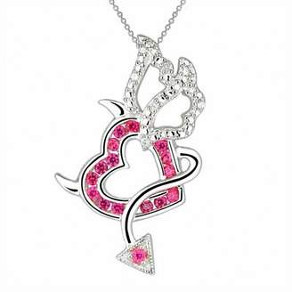Zales Lab-Created Ruby and Diamond Accent Devil Heart with Wings Pendant in Sterling Silver