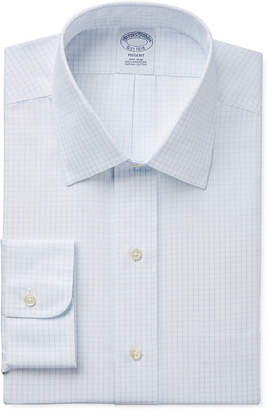 Brooks Brothers Regent Slim-Fit Non-Iron Light Blue Grid Check Dress Shirt