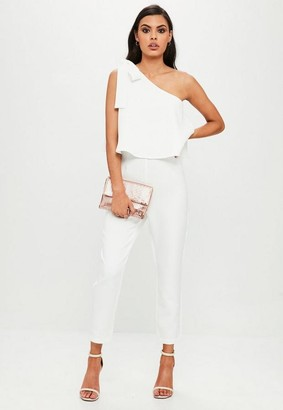 Missguided White One Shoulder Bow Romper
