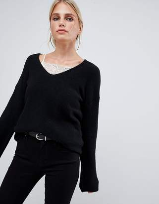 Sisley flared sleeve v neck knit sweater in black