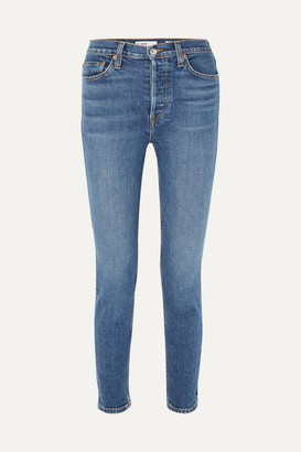 RE/DONE Originals High-rise Ankle Crop Stretch Skinny Jeans - Mid denim