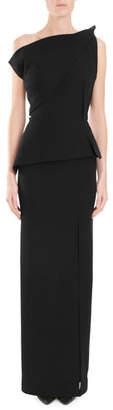 Roland Mouret One-Shoulder Shirred-Peplum Column Evening Gown w/ Side Slit