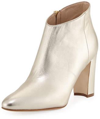 Manolo Blahnik Brusta Metallic Leather Booties, Gold