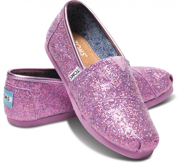 Toms Lilac youth glitters