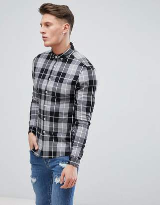 Asos DESIGN skinny check shirt in gray