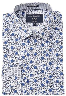 Report Collection Floral Print Modern Fit Dress Shirt