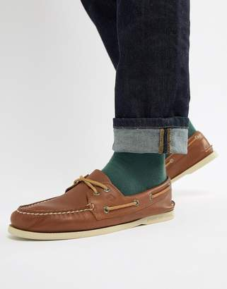 Sperry Leather Boat Shoes In Tan
