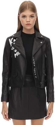 Karl Lagerfeld Paris Painted Leather Biker Jacket