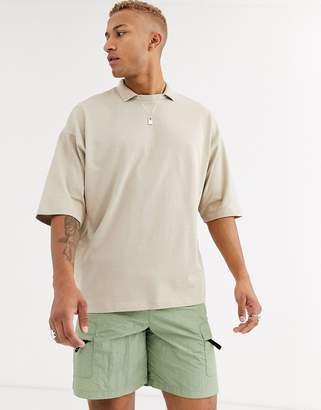 BEIGE Asos Design ASOS DESIGN organic oversized heavyweight t-shirt with polo collar in