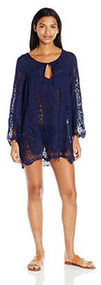 Nanette Lepore Women's Stardust Embroidery Lacey Tunic Cover Up