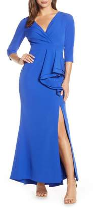 Eliza J Side Ruffle Faux Wrap Gown (Plus Size)