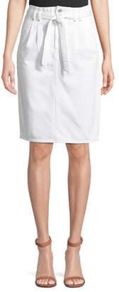 J Brand Tie-Waist Straight Knee-Length Denim Skirt