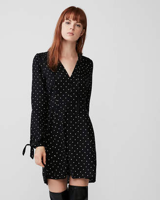 Express Long Sleeve Button Front Fit And Flare Dress