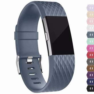 Fitbit IGK Charge 2 Bands Replacement Sport Strap Accessories with Fasteners and Metal Clasps for Charge 2 Wristband (Large, Slate)