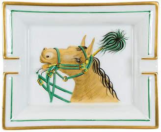 One Kings Lane Vintage Hermès Green & White Porcelain Tray