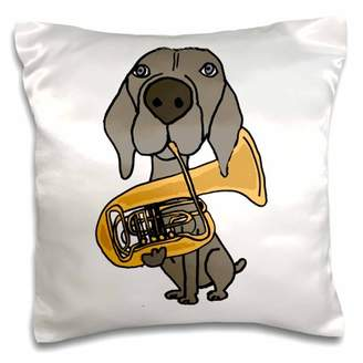 3dRose Funny Cool Weimaraner Dog Playing Tuba Cartoon - Pillow Case, 16 by 16-inch