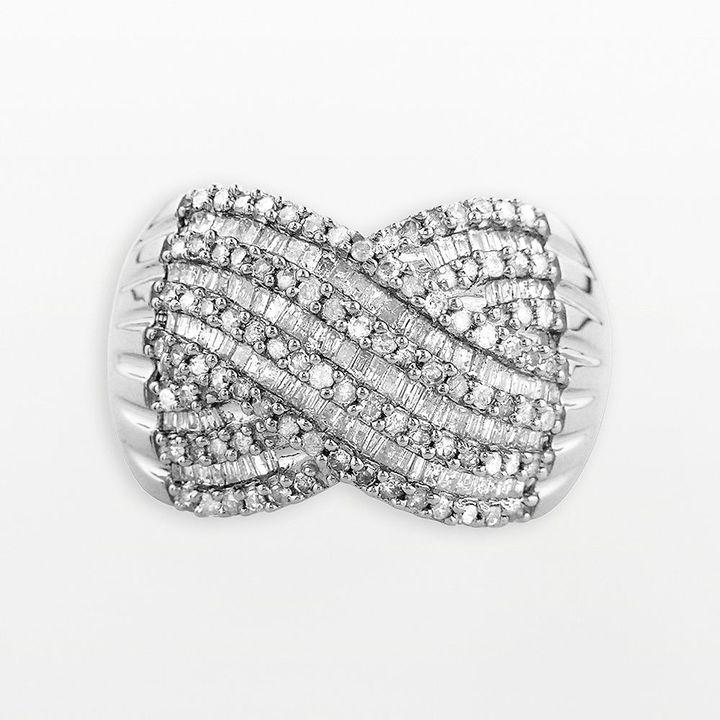 Sterling silver 1-ct. t.w. diamond crisscross ring
