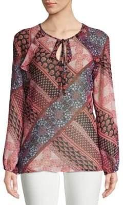 BCBGMAXAZRIA Printed Long-Sleeve Top