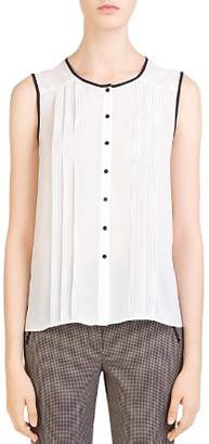 Gerard Darel Lena Sleeveless Pleated Shirt